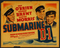 "Movie Posters:War, Submarine D-1 (Warner Brothers, 1937). Half Sheet (22"" X 28"") StyleB. War. ..."