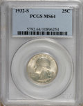 Washington Quarters: , 1932-S 25C MS64 PCGS. PCGS Population (870/91). NGC Census:(474/59). Mintage: 408,000. Numismedia Wsl. Price for NGC/PCGS ...