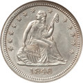 Seated Quarters: , 1846 25C MS63 NGC. NGC Census: (5/9). PCGS Population (9/3).Mintage: 510,000. Numismedia Wsl. Price for problem free NGC/P...