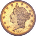 Liberty Double Eagles, 1850 $20 MS61 PCGS. CAC....