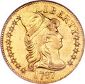 Early Half Eagles, 1797 $5 Small Eagle, 15 Stars MS60 NGC. Breen-6419, BD-2, R.7. ...