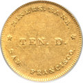 Territorial Gold, (1849) $10 Miners Bank Ten Dollar AU55 PCGS. K-1, R.6....