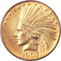 Indian Eagles, 1907 $10 Wire Rim MS63 PCGS. Judd-1901, R.3....