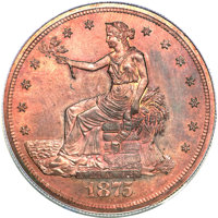 1875 T$1 Trade Dollar, Judd-1430, Pollock-1573, R.7, PR66 Red and Brown PCGS....(PCGS# 71737)