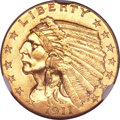 Indian Quarter Eagles, 1911-D $2 1/2 MS62 NGC. CAC....