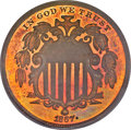 Patterns, 1867 5C Five Cents, Judd-573, Pollock-650, R.6-7, PR65 Red Cameo PCGS....
