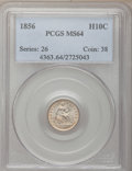 Seated Half Dimes: , 1856 H10C MS64 PCGS. PCGS Population (84/22). NGC Census: (91/103).Mintage: 4,880,000. Numismedia Wsl. Price for problem f...