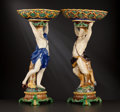 Ceramics & Porcelain, British:Antique  (Pre 1900), A PAIR OF ENGLISH MAJOLICA FIGURAL CENTERPIECES . Minton, Stoke-on-Trent, Staffordshire, England, circa 1864. Marks: MINTO... (Total: 2 Items)