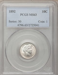 Barber Dimes: , 1892 10C MS63 PCGS. PCGS Population (279/469). NGC Census: (232/536). Mintage: 12,121,245. Numismedia Wsl. Price for proble...