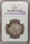 Early Half Dollars, 1803 50C Large 3--Holed--NGC Details. VF. O-103. NGC Census:(13/681). PCGS Population (34/259). Mintage: 188,234. Numi...