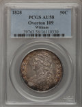 Bust Half Dollars, 1828 50C Square Base 2, Large 8 AU58 PCGS. O-109. PCGS Population(14/23). (#6150). From The Witham ...