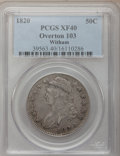 Bust Half Dollars, 1820 50C Curl Base 2, Small Date XF40 PCGS. O-103, R.1. PCGSPopulation (7/125). NGC Census: (19/1446). Mintage: 751,122. ...