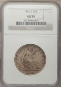 Seated Half Dollars: , 1861-S 50C AU50 NGC. NGC Census: (3/52). PCGS Population (3/47).Mintage: 939,500. Numismedia Wsl. Price for problem free N...
