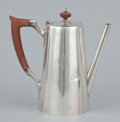 Silver Holloware, American:Coffee Pots, AN AMERICAN SILVER AND WOOD COFFEE POT . Gorham Manufacturing Co., Providence, Rhode Island, 1928. Marks: GORHAM, (lion-...