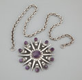 Silver Smalls:Other , A MEXICAN SILVER AND AMETHYST QUARTZ PENDANT/BROOCH AND CHAIN .William Spratling, Taxco, Mexico, circa 1945. Marks:SPRAT...