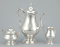 Silver Holloware, American:Coffee Pots, AN AMERICAN SILVER COFFEE POT, CREAMER AND COVERED SUGAR BOWL.Alvin Corporation, Providence, Rhode Island, circa 1950. Mark...(Total: 3 Items Items)