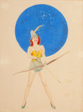 Pin-up and Glamour Art, AMERICAN ARTIST (20th Century). Sagittarius. Watercolor onboard. 19 x 14 in.. Not signed. ...