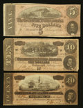 Confederate Notes:1864 Issues, Confederate Currency Folder with - . T69 $5 1864. T68 $10 1864. T67 $20 1864.. ...