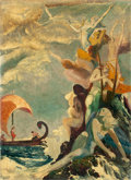 Mainstream Illustration, WILLY POGANY (Hungarian-American, 1882-1955). Ulysses andSirens. Oil on board. 22 x 16 in.. Initialed lower left. ...