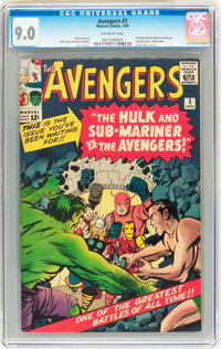 The Avengers #3 (Marvel, 1964) CGC VF/NM 9.0 Off-white pages