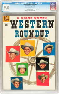 Dell Giant Comics Western Roundup #3 File Copy (Dell, 1953) CGC VF/NM 9.0 Off-white to white pages