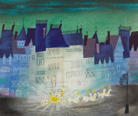 Mary Blair (attributed) Cinderella Animation Concept Painting Original Art (Disney, 1950)