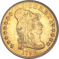 Early Half Eagles, 1799 $5 Large Stars Reverse AU50 PCGS. Breen-6437, BD-8, R.6....