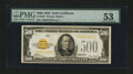 Small Size:Gold Certificates, Fr. 2407 $500 1928 Gold Certificate. PMG About Uncirculated 53.. ...