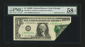 Error Notes:Foldovers, Fr. 1907-G $1 1969D Federal Reserve Note. PMG Choice About Unc 58EPQ.. ...