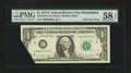Error Notes:Foldovers, Fr. 1910-C $1 1977A Federal Reserve Note. PMG Choice About Unc 58EPQ.. ...