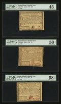 Colonial Notes:Rhode Island, Three Lightly Circulated Rhode Island July 2, 1780 Notes. . ...(Total: 3 notes)
