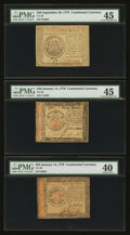 Colonial Notes:Continental Congress Issues, Three High Denomination Continentals.. ... (Total: 3 notes)
