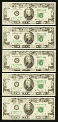 Error Notes:Missing Magnetic Ink, Fr. 2077-G $20 1990 Federal Reserve Notes. Five ConsecutiveExamples. Very Choice Crisp Uncirculated.. ... (Total: 5 notes)