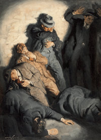EDMUND F. WARD (American, 1892-1991) St. Valentine's Day Massacre Oil on canvas 38.25 x 28 in