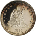 Proof Seated Quarters, 1866 25C Motto PR64 Cameo NGC....