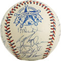 Autographs:Baseballs, 1995 AL All-Star Team Signed Baseball. Official orb from the 1995All-Star Game has been signed by 22 members of the Americ...