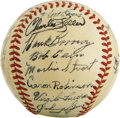 Autographs:Baseballs, 1951 Detroit Tigers Team Signed Baseball. Led by skipper Red Rolfe,the 1951 Detroit Tigers are represented here with this ...