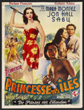"Movie Posters:Adventure, White Savage (Universal, R-1950s). Belgian (14"" X 18.5"").Adventure. Starring Maria Montez, Jon Hall, Sabu, Turhan Bey,Sidn..."