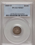Seated Half Dimes: , 1860-O H10C MS63 PCGS. PCGS Population (43/66). NGC Census:(43/86). Mintage: 1,060,000. Numismedia Wsl. Price for problem ...