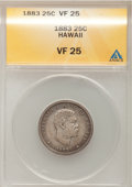 Coins of Hawaii: , 1883 25C Hawaii Quarter VF25 ANACS. NGC Census: (1/889). PCGSPopulation (5/1502). Mintage: 500,000. (#10987)...