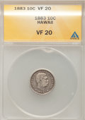 Coins of Hawaii: , 1883 10C Hawaii Ten Cents VF20 ANACS. NGC Census: (2/282). PCGSPopulation (24/487). Mintage: 250,000. (#10979)...