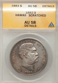 Coins of Hawaii: , 1883 $1 Hawaii Dollar--Scratched--ANACS. AU58 Details. NGC Census:(30/65). PCGS Population (36/81). Mintage: 500,000. (#1...