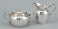 Silver Holloware, American:Creamers and Sugars, A SILVER AMERICAN CREAMER AND SUGAR BOWL . Gorham ManufacturingCo., Providence, Rhode Island, 1948. Marks: GORHAM (lion...(Total: 2 Items)