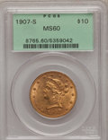 Liberty Eagles: , 1907-S $10 MS60 PCGS. PCGS Population (13/89). NGC Census:(27/197). Mintage: 210,500. Numismedia Wsl. Price for problem fr...