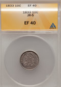 Bust Dimes: , 1833 10C XF40 ANACS. JR-5. NGC Census: (7/235). PCGS Population(26/233). Mintage: 485,000. Numismedia Wsl. Price for probl...