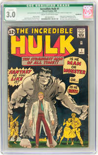 The Incredible Hulk #1 Incomplete (Marvel, 1962) CGC Qualified GD/VG 3.0 Cream to off-white pages
