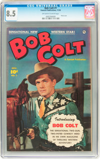 Bob Colt #1 (Fawcett, 1950) CGC VF+ 8.5 Off-white to white pages