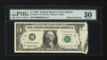 Error Notes:Printed Tears, Fr. 1921-F $1 1995 Federal Reserve Note. PMG Very Fine 30.. ...