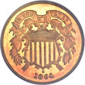 Proof Two Cent Pieces, 1864 2C Large Motto PR66 Red Cameo PCGS Secure. CAC....