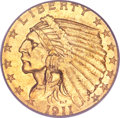 Indian Quarter Eagles, 1911-D $2 1/2 MS64 PCGS....